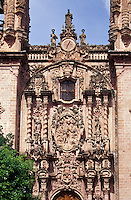 The baroque style facade of Santa Prisca Church in Spanish colonial town of Taxco, Guerrero, Mexico