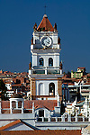 Renaissance styled bell tower of the Metropolitan Cathedral in Sucre.  The cathedral was constructed in the 16th century and like all of the colonial architecture in Sucre is painted white, giving the city its nickname the 'White City'.  In 1991 the city was declared a UNESCO World Heritage Site.