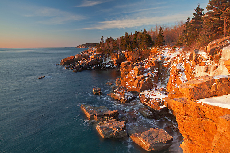 View of rugged granite coastline near Newport Cove along the Park Loop Road in Acadia National Park, Maine, USA