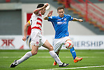 Hamilton Accies v St Johnstone...16.08.14  SPFL<br /> Martin Canning denies Steven MacLean from Chris Kane's cross<br /> Picture by Graeme Hart.<br /> Copyright Perthshire Picture Agency<br /> Tel: 01738 623350  Mobile: 07990 594431