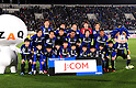 Gamba Osaka team group line-up,.MARCH 25, 2011 - Football / Soccer :.Gamba Osaka players (Top row - L to R) Sota Nakazawa, Yasuyuki Konno, Takuya Takei, Yosuke Fujigaya, Akira Kaji, (Middle row - L to R) Yasuhito Endo, Takahiro Futagawa, Lee Seung Yeoul, Rafinha, Hiroki Fujiharu and Paulinho pose for a team photo with the club mascot &quot;Gamba Boy&quot;(R) and ZAQ's character &quot;Zaqu&quot;(L) before the 2012 J.League Division 1 match between Gamba Osaka 1-2 Jubilo Iwata at Expo '70 Stadium in Osaka, Japan. (Photo by AFLO)