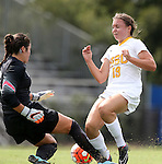 06 September 2015: USC's Sydney Sladek (19) has the ball knocked away by North Carolina's Bryane Heaberlin (left). The University of North Carolina Tar Heels played the University of Southern California Trojans at Koskinen Stadium in Durham, NC in a 2015 NCAA Division I Women's Soccer match. UNC won the game 2-1.