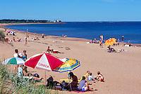 Panmure Island Provincial Park, PEI, Prince Edward Island, Canada - People sunbathing on Sandy Beach along Gulf of St Lawrence