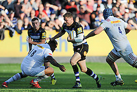 Rhys Priestland of Bath Rugby takes on the Harlequins defence. Aviva Premiership match, between Bath Rugby and Harlequins on October 31, 2015 at the Recreation Ground in Bath, England. Photo by: Alex Davidson / JMP for Onside Images