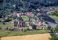 Wales, Offa's Dyke.  Tintern Abbey by the River Wye from the Footpath.