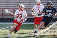 College Park, MD - March 18, 2017: Maryland Terrapins Adam DiMillo (23) tries to get by Villanova Wildcats Connor Kirst (34) during game between Villanova and Maryland at  Capital One Field at Maryland Stadium in College Park, MD.  (Photo by Elliott Brown/Media Images International)