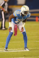 10/15/12 San Diego, CA: San Diego Chargers cornerback Antoine Cason #20 during an NFL game played between the San Diego Chargers and the Denver Broncos at Qualcomm Stadium. The Broncos defeated the Chargers 35-24.