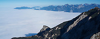 View east from Aggenstein (1987m) along Alp foothils along German - Austria border, Allg&auml;u, Bavaria, Germany