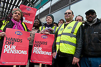 Public sector strikes over pension cuts. 10-5-12 Members of the PCS, UNITE, NUT and RMT Trade Unions strike over cuts to their pensions.  The picket line at Euston Tower.
