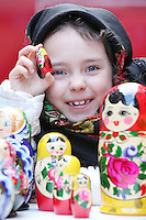 NO REPRO FEE. 6/3/2011. RUSSIAN CULTURAL FESTIVAL. Roxanna Rakhmatullina aged 7 from Lucan, Co Dublin is pictured with babushka dolls at the Festival of Russian Culture family day at Cows Lane , Temple Bar, Dublin. Picture James Horan/Collins Photos