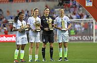 Houston, TX. - February 21, 2016: The U.S. Women's National team beat Canada 2-0 to win the 2016 Women's Olympic Qualifying Championship match at BBVA Compass Stadium.