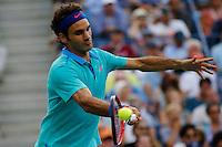 Roger Federer of Switzerland returns the ball to Marin Cilic of Croatia during men semifinal match at the US Open 2014 tennis tournament in the USTA Billie Jean King National Center, New York.  09.05.2014. VIEWpress