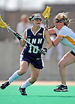 9 April 2008: University of New Hampshire Wildcats' Midfielder Michaela Hardy, a Junior from Reading, MA, in action against the University of Vermont Catamounts at Moulton Winder Field, in Burlington, Vermont. The Catamounts rallied to defeat the visiting Wildcats 9-8 in America East divisional play...Mandatory Photo Credit: Ed Wolfstein Photo
