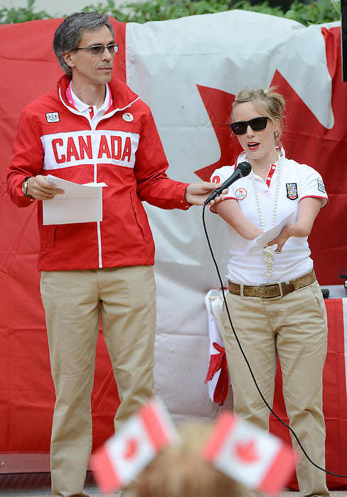 LONDON, ENGLAND – 08/26/2012:  Gaetan Tardif and Elisabeth Walker-Young at Canada's Pep-Rally before the London 2012 Paralympic Games. (Photo by Matthew Murnaghan/Canadian Paralympic Committee)