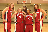 6 October 2005: Kristen Newlin, Clare Bodensteiner, Eziamaka Okafor, Markisha Coleman, and Brooke Smith on picture day at the Arrillaga Family Sports Center in Stanford, CA.