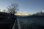 Early morning view of Lake Léman  from the promenade, Vevay close to Montreux,Lausanne Switzerland.