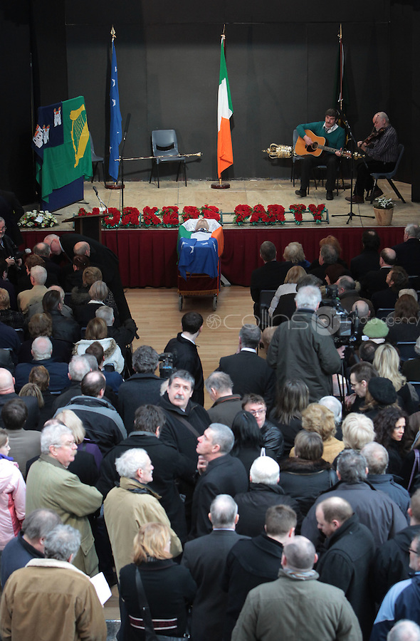 08/02/2010 .Mourners at the remains of Tomas MacGiolla  at the secular ceremony of former Workers Party president Tomas MacGiolla at Ballyfermot Civic Centre, Dublin..Photo: Gareth Chaney Collins.