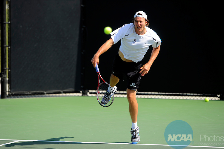 26 MAY 2011: Luis Rattenhuber of Amherst serves the ball during the Division III Men's Tennis Championship held at the Biszantz Family Tennis Center and Pauley Tennis Complex in Claremont, CA. Amherst defeated Emory 5-2 for the national title. Stephen Nowland/NCAA Photos