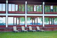 Minimalist Danish style of Hotel Hesselet at Nyborg on Funen Island, Denmark