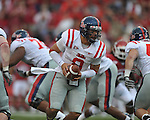 Ole Miss quarterback Jeremiah Masoli (8) at Reynolds Razorback Stadium in Fayetteville, Ark. on Saturday, October 23, 2010.