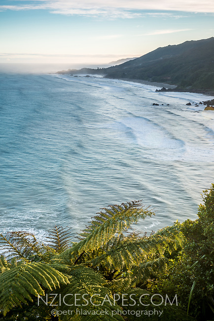 Wild west coast coastline near Punakaiki at sunrise, Paparoa National Park, West Coast, Buller Region, New Zealand, NZ