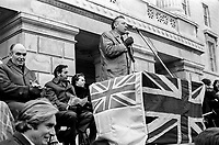 U.U.U.C. Victory rally - Rev Ian Paisley addresses supporters who assembled in front of Parliament Buildings. Saturday, 9th March 1974, 197403090289<br />