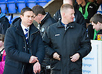St Johnstone v Ross County.....21.04.13      SPL.Derek Adams and Steve Lomas prior to kick off.Picture by Graeme Hart..Copyright Perthshire Picture Agency.Tel: 01738 623350  Mobile: 07990 594431