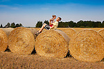 Children Playing on Corn Bales, Estonia