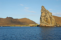 Pinnacle Rock from sea view, Bartolome Island, Ecuador, Galapagos Archipelago