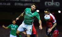Lincoln City's Matt Rhead vies for possession with York City's Danny Holmes<br /> <br /> Photographer Andrew Vaughan/CameraSport<br /> <br /> The Buildbase FA Trophy Semi-Final First Leg - York City v Lincoln City - Tuesday 14th March 2017 - Bootham Crescent - York<br />  <br /> World Copyright &copy; 2017 CameraSport. All rights reserved. 43 Linden Ave. Countesthorpe. Leicester. England. LE8 5PG - Tel: +44 (0) 116 277 4147 - admin@camerasport.com - www.camerasport.com