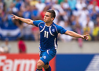 Rodolfo Zelaya (11) of El Salvador celebrates his goal during the quarterfinals of the CONCACAF Gold Cup at M&T Bank Stadium in Baltimore, MD.  The United States defeated El Salvador, 5-1.