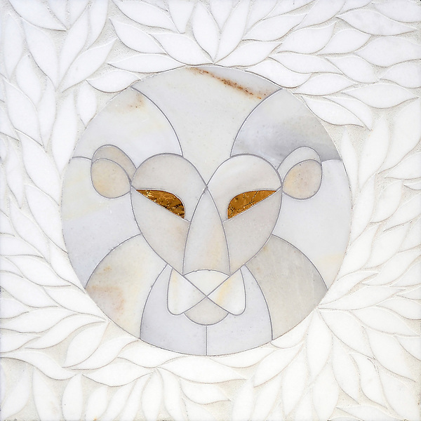 Wild ones, a stone waterjet mosaic, shown in Thassos honed, Angora honed, and Gold glass.