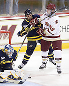 Ryan Flanigan (Merrimack - 20), Chris Kreider (BC - 19) - The Boston College Eagles defeated the visiting Merrimack College Warriors 3-2 on Friday, October 29, 2010, at Conte Forum in Chestnut Hill, Massachusetts.