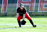 Cheshire, CT- 19 May 2017-051917CM09-  Cheshire's Sam Simione scoops the ball during their SCC softball matchup against Mercy on Friday.  Cheshire would go onto win, 8-1.  Christopher Massa Republican-American