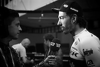Fabian Cancellara (SUI/Trek-Segafredo) interviewed backstage at the Grande Partenza in Apeldoorn (NLD): team presentation of the 99th Giro d'Italia 2016 on the evening before the 1st stage
