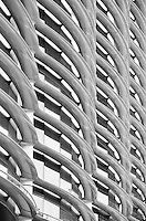 A Black and white image of the Walbrook Building with the distinct reinforced polymer shading.<br />