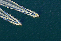aerial looking down at twopowerboats, Connecticut, Greenwich