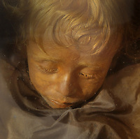 Rosalia Lombardo (Sleeping Beauty of the Capuchin Catacombs), 1920, Capuchin Catacombs of Palermo, located on the crypt below the Palermo's Capuchin monastery, Sicily, Italy. Mummification of monks at the catacombs began in 1500s; burials stopped in the 1920s; Rosalia Lombardo was one of the last corpses to be admitted to the Capuchin catacombs. Picture by Manuel Cohen