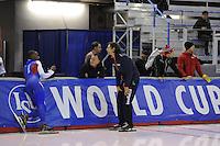SPEEDSKATING: CALGARY: 12-11-2015, Olympic Oval, training, Shani Davis en Gerard van Velde, ©foto Martin de Jong