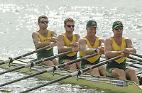Nottingham, ENGLAND.  <br />  <br />   <br /> Commonwealth Regatta - Nottingham<br /> 20020818<br /> AUS M4X  Stewart Daniel.  Mitchell Punch , Graig Jones and Peter Hardcastle.