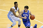 07 March 2015: Duke's Grayson Allen (right) and North Carolina's J.P. Tokoto (left). The University of North Carolina Tar Heels played the Duke University Blue Devils in an NCAA Division I Men's basketball game at the Dean E. Smith Center in Chapel Hill, North Carolina. Duke won the game 84-77.