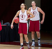 Stanford, CA., March 25, 2013,--  Erica Payne and Tess Picknell both with the Stanford women's basketball team workout during team practice Monday, March 25, 2013, for there second round NCAA 2013, basketball championship game against Michigan, at Maples Pavilion.  ( Norbert von der Groeben )