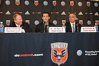 DC United President and CEO Kevin Payne (left) DC United new Head Coach Ben Olsen (middle) and DC United General Manager Dave Kasper (right) at the presentation of his new position as Head Coach, RFK stadium November 29, 2010.