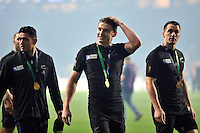 Beauden Barrett of New Zealand is all smiles after the match. Rugby World Cup Final between New Zealand and Australia on October 31, 2015 at Twickenham Stadium in London, England. Photo by: Patrick Khachfe / Onside Images