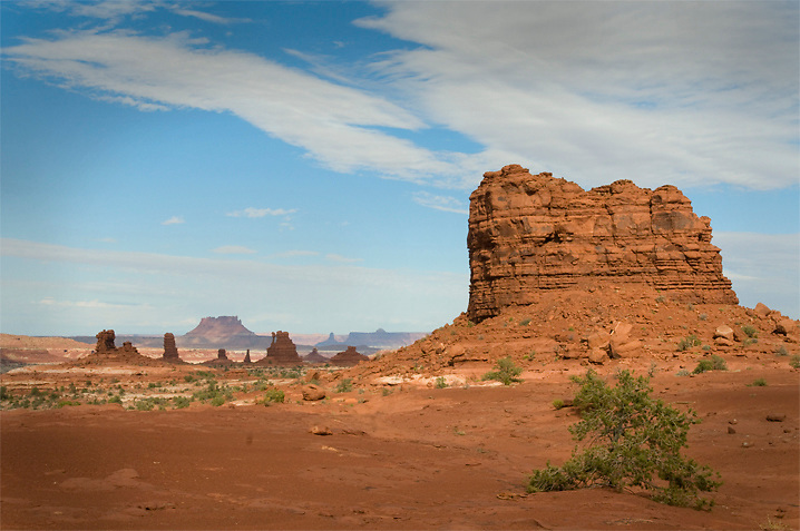 A fall storm moves quickly over the Land of Standing Rocks in the Maze District of Canyonlands National Park. <br /> This and many other interesting geologic features in the area were named by the Powell Expedition in 1869.