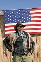 2 December 2006 - New York City, NY - R. W. Hall, aka Curly, a member of the Federation of Black Cowboys, poses for the photographer at the Cedar Lanes stables in the borough of Queens in New York City, USA, 2 December 2006. The Federation gathers black men and women who recreate the heritage of black cowboys, teach kids to ride and put on 'rodeo showdeos'.