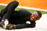 Brandon Boykin #25 of the Pittsburgh Steelers warms up prior to the game against the Cincinnati Bengals at Paul Brown Stadium on December 12, 2015 in Cincinnati, Ohio. (Photo by Jared Wickerham/DKPittsburghSports)