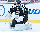 Brendan Leahy (PC - 31) -  - The participating teams in Hockey East's first doubleheader during Frozen Fenway practiced on January 3, 2014 at Fenway Park in Boston, Massachusetts.