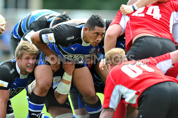 Anthony Perenise looks to scrummage against his opposite number. Pre-season friendly match, between Bath Rugby and London Welsh on August 11, 2012 at the Recreation Ground in Bath, England. Photo by: Patrick Khachfe / Onside Images