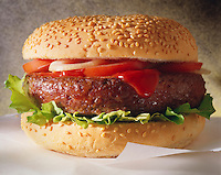 Photo of classic hamburger in sesame bun with Ketchup & Salad. Funky Stock Photos.
